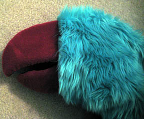 The head with turquoise fur draped over it to get an idea how how it works together. I likes it!