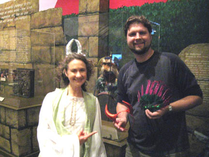 Heather with Detag, in front of Sir Didymus on dsiplay at the Center