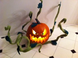 "Pumpkin for a contest at Turner Studios. It won ""Scariest""!"