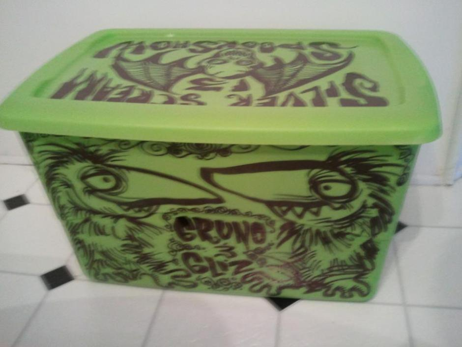 Gruno and Gliz's personalized costume chest, expertly decorated by my pal Shane Morton,AKA Professor Morte' of the Silver Scream Spook Show!