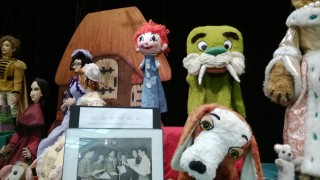 "Part of the main Tichenor exhibit at the Nashville Public Library. The puppets from  ""Carnivale"",including Horrible Harry the green walrus, are at center."